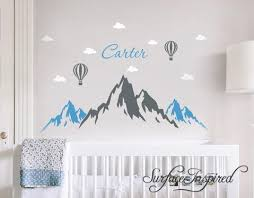 Wall Decals Personalized Name Mountains Hot Air Balloons Wall Decals L Surface Inspired Home Decor Wall Decals Wall Art Wooden Letters