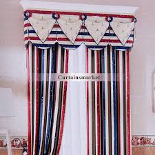 Red And Blue Striped Curtains With Star Patterns For Kids