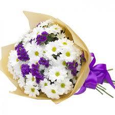 Букет Хризантема и статица - заказать и купить с доставкой | Служба  доставки цветов г. Барнаул Алтайский край