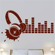 Vova Headphones Sound Music Night Club Party Mural Music Vinyl Wall Decal Art Wall Sticker Dj Band Room Bedroom Decoration