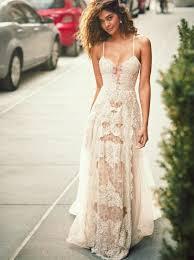 boho beach wedding dress with lace