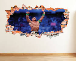 John Cena Smashed 3d Wall Decal Sticker Decor Removable Wwe Wall Art Mural Lt24 Ebay