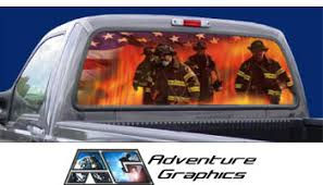 Vehicle Graphics Rear Window Graphics Firefighter Rear Window Graphic