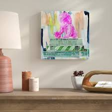 foo and books pink painting print on