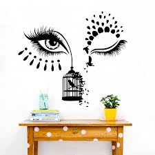 Large Lash Beautiful Makeup Salon Birdcage Wall Sticker Makeup Lash Shop Salon Beauty Wall Decal Vinyl Decor Wall Stickers Aliexpress