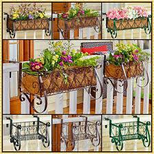 Black Metal Plant Baskets Pots Window Railing Boxes For Sale In Stock Ebay