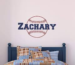 Amazon Com Custom Name Baseball Wall Decal Boys Personalized Name Baseball Sports Wall Sticker Custom Name Sign Custom Name Stencil Monogram Boys Room Wall Decor Handmade