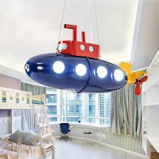 Hanging Kids Chandelier Wrought Iron Blue Submarine Nursery