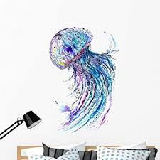 Amazon Com Wallmonkeys Jelly Fish Watercolor Wall Decal Peel And Stick Graphic 48 In H X 35 In W Wm52243 Furniture Decor