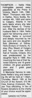 Obituary for Nellie Hilda THOMPSON, 1893-1992 - Newspapers.com