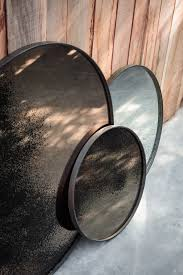 notre monde round mirror tray heavy