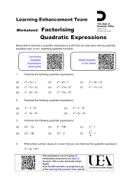 factorising quadratic expressions