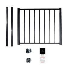 Aria Railing 40 In X 36 In Black Powder Coated Aluminum Preassembled Deck Gate Kit Ag17514b The Home Depot