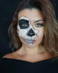 half face skeleton makeup easy