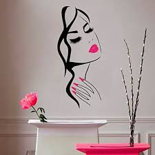 Amazon Com Wall Decal Beauty Salon Manicure Nail Salon Wall Art Sticker Beautiful Girl Face Lips Home Decor Stickers Barber Shop Hairstyle Decoration Wall Mural M 73 Black Pink Lips 57x130cm Home Kitchen