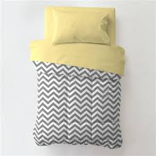 gray and yellow zig zag toddler bedding