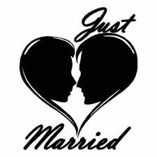 Saying Just Married Vinyl Decal Sticker