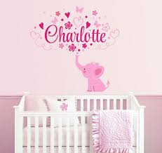 Elephant Custom Name Personalized Initial Wall Decal Sticker For Nursery Girl 39 S Room Or Playroom Nursery Decals Girl Nursery Monogram Baby Girl Elephant