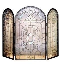 bevel fireplace screens stained glass