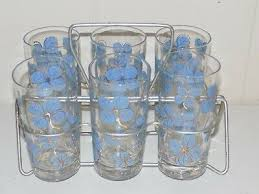 blue gold drinking glass tumbler set