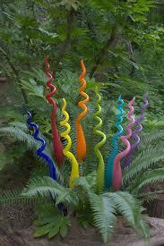 hand blown glass garden art plant stake