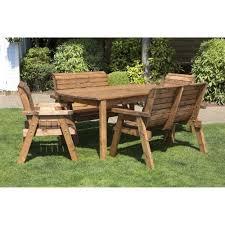 6 seater rustic wooden garden furniture