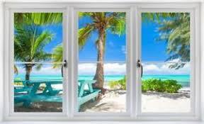 Tropical Beach Day 3d Window Wall Decal Sticker Mural Vinyl Ocean Window Scape Ebay