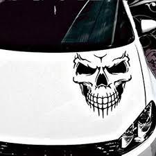 30cm Gothic Biker Skull Electric Blue Flames Motif Car Bike Sticker Decal Archives Midweek Com