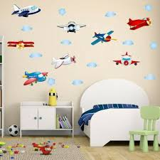 Cartoon Airplane Wall Decal Cloud And Plane Wall Art Stickers For Baby Nursery Kids Room Wall Decor Wallsymbol Com