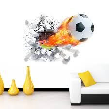 Football Soccer Ball Through The Wall Stickers Tv Background Removable Living Room Bedroom Wall Decals Boys Room Decoration Room Decoration Boys Room Decorwall Decals Aliexpress