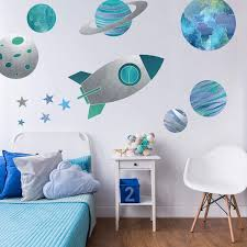 Amazon Com Rocket And Planets Wall Decal Pack Space Wall Decals Perfect For Creating A Space Themed Room Baby