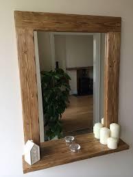 wooden bathroom mirror