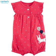 ĐỒ SƠ SINH MỚI VỀ TẠI FIBOBABY SHOP : (Carter's) Romper áo liền quần đùi bé  gái đỏ