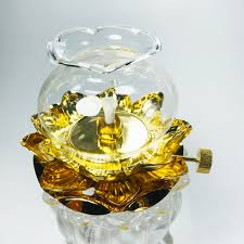 Đèn dầu lưu ly thờ cúng hoa sen, đèn để bàn thờ, đèn thờ phật, đèn ...