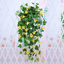 Morning Glory Hanging Plants Silk Garland Fake Green Plant Home Garden Wall Fence Stairway Outdoor Wedding Hanging Baskets Decor Artificial Plants Aliexpress