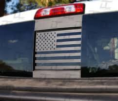 Silverado Sierra Flat Black American Flag Rear Window Accent Decal 2015 2018 Decal Concepts