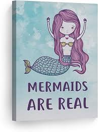 Amazon Com Smile Art Design Mermaids Are Real Quote Wall Decor Watercolor Paint Mermaid Decor Canvas Print Kids Room Decor Wall Art Baby Room Decor Nursery Decor Made In The Usa 40x30 Posters