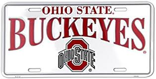 Amazon Com Hangtime Ohio State Buckeyes White Metal License Plate Automotive License Plate Covers Sports Outdoors