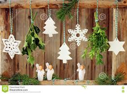 Christmas Decorations On Wooden Fence Stock Photo Image Of Hang Bundles 79233038