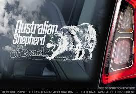 Australian Shepherd On Board Car Window Sticker Aussie Dog Etsy
