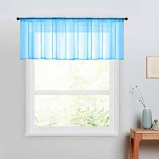 Amazon Com Sheer Valance 16 Inch Length Baby Girls Room Voile Curtain Valances Kids Room Sky Blue Window Treatment Kitchen Rod Pocket 1 Panel Valance Living Room Bedroom Kitchen Dining