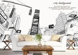 Charcoal City Landscape Wallpaper Mural Wallmur
