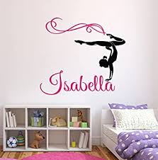 Amazon Com Custom Gymnastics Name Wall Decals Girls Kids Room Decor Nursery Wall Decals Wall Decor For Teen Girls 32wx28h Baby