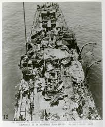 Damaged deck of the USS Aaron Ward off the coast of Okinawa, 1945 | The  Digital Collections of the National WWII Museum : Oral Histories