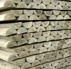 100mm Machined Treated Half Round Softwood Stakes Hartwells Fencing