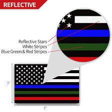 Anley 5 X 3 Inch Thin Line Us Flag Decal Blue Green And Red Reflective Stripe American Flag Car Stickers Support Police Military And Fire Officers 3 Pack Walmart Com Walmart Com