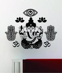 Ganesha Hamsa Hand Lotus Flower Om Wall Decal Home Decor Art Sticker V Boop Decals