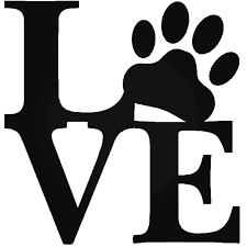 Love Paw Wall Dog Puppy Vinyl Decal Sticker