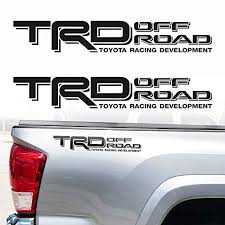 Multi Color 2pcs Trd Off Road Sticker For Side Bed Of The Pickup Toyota Tundra Tacoma Car Vehicle Accessories Sports Outdoors