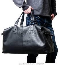 mens black leather travel bag mans